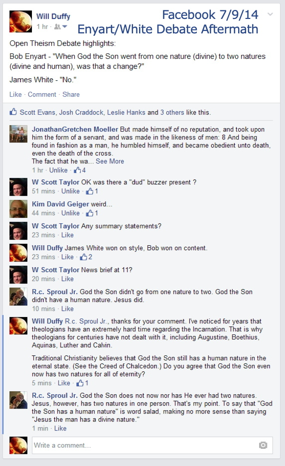RC Sproul Jr denies God the Son took on a human nature, Enyart/White debate aftermath, Facebook 7/9/14